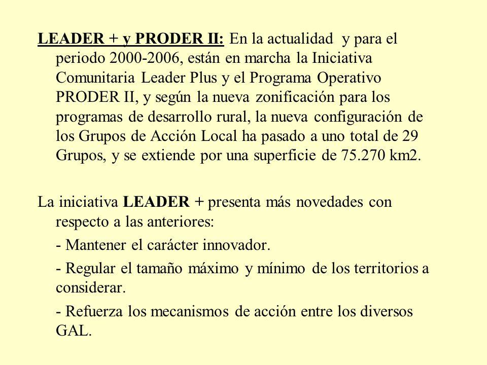 LEADER + y PRODER II: En la actualidad y para el periodo 2000-2006, están en marcha la Iniciativa Comunitaria Leader Plus y el Programa Operativo PROD