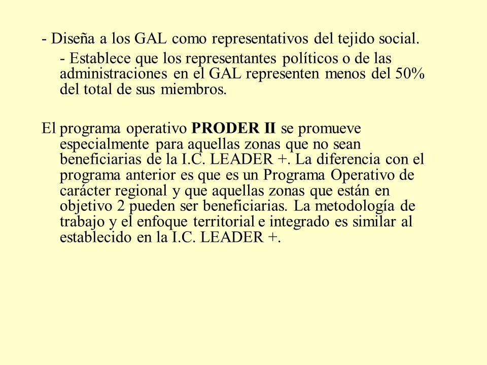 - Diseña a los GAL como representativos del tejido social. - Establece que los representantes políticos o de las administraciones en el GAL represente