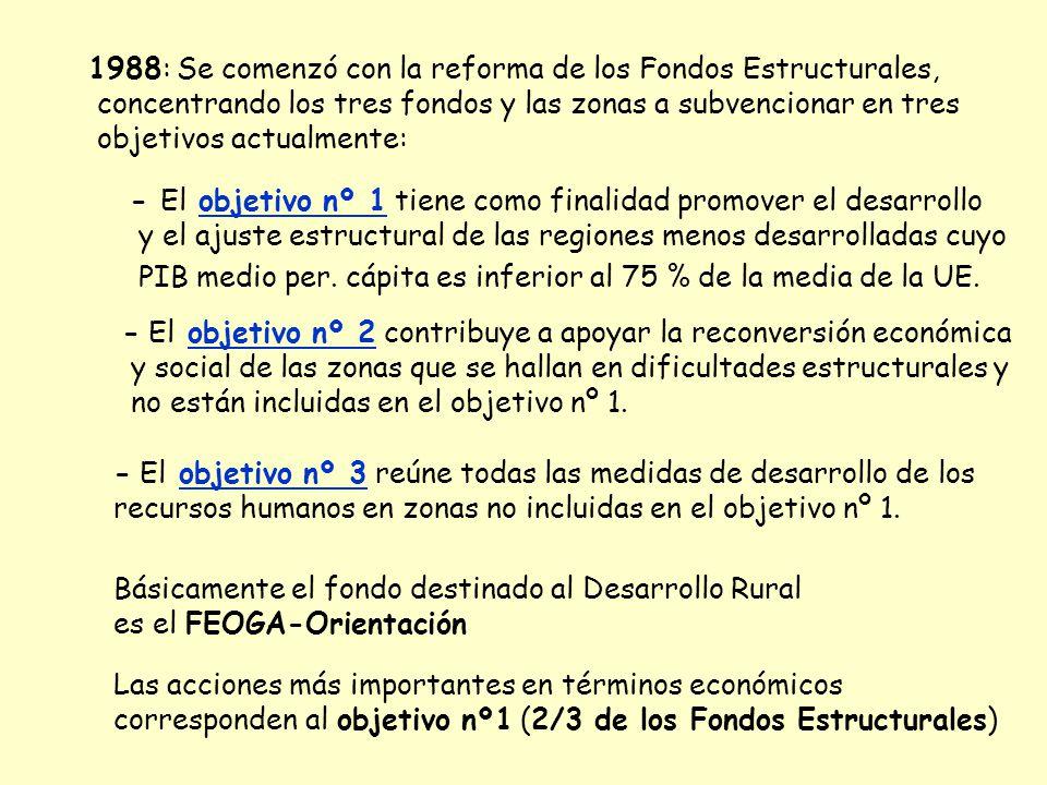 1988: Se comenzó con la reforma de los Fondos Estructurales, concentrando los tres fondos y las zonas a subvencionar en tres objetivos actualmente: -