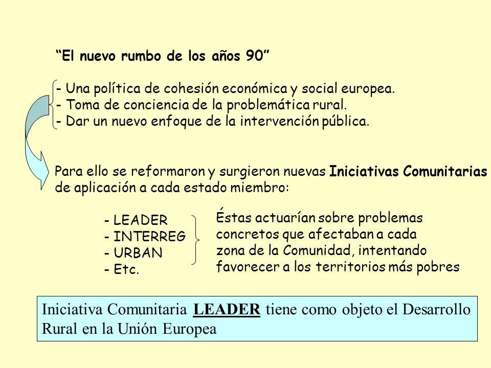 El nuevo rumbo de los años 90 - Una política de cohesión económica y social europea. - Toma de conciencia de la problemática rural. - Dar un nuevo enf