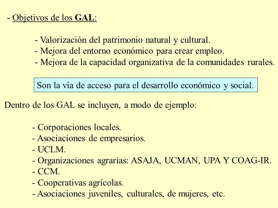 - Objetivos de los GAL: - Valorización del patrimonio natural y cultural. - Mejora del entorno económico para crear empleo. - Mejora de la capacidad o