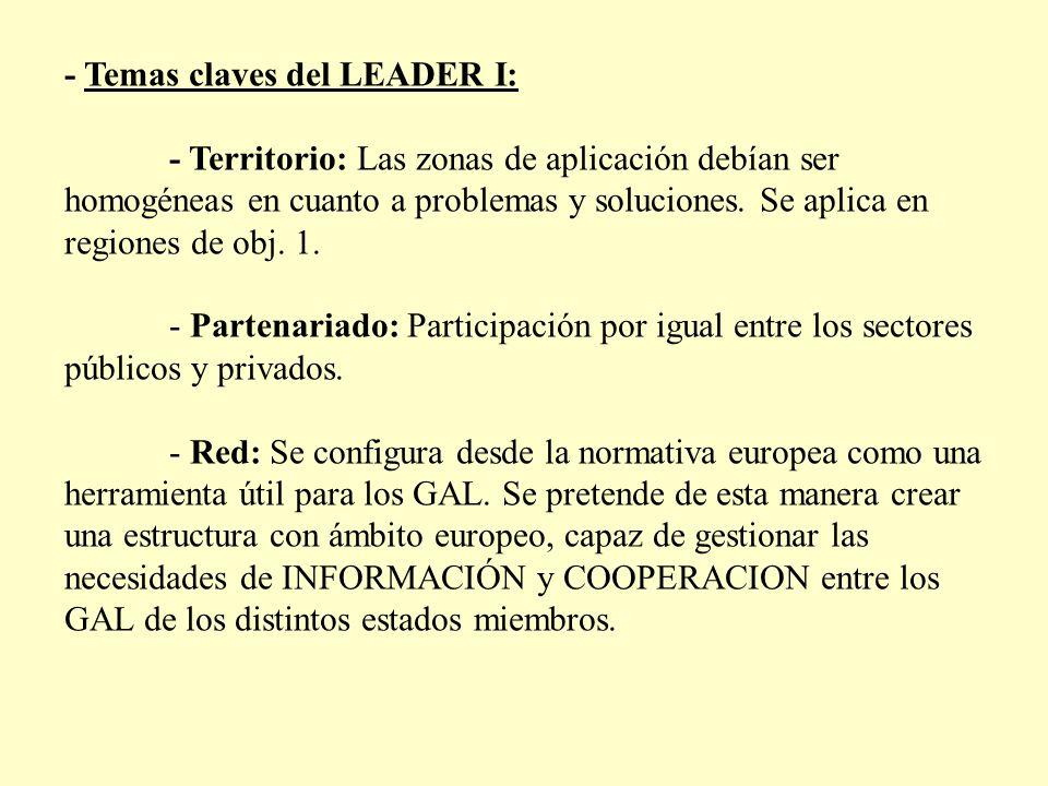 - Temas claves del LEADER I: - Territorio: Las zonas de aplicación debían ser homogéneas en cuanto a problemas y soluciones. Se aplica en regiones de
