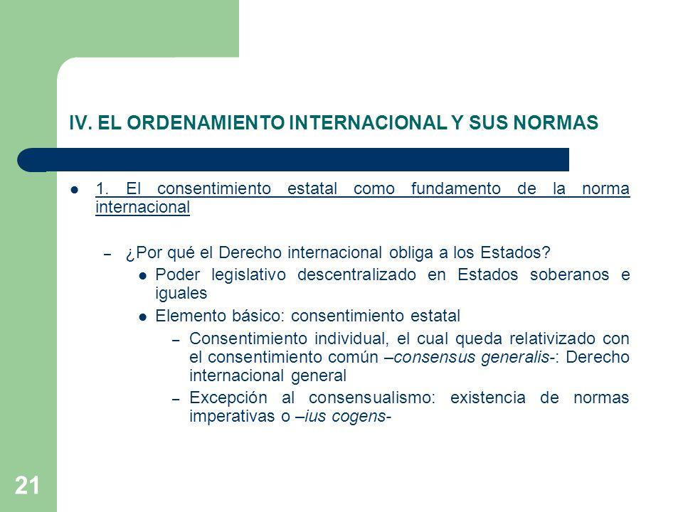 21 IV. EL ORDENAMIENTO INTERNACIONAL Y SUS NORMAS 1. El consentimiento estatal como fundamento de la norma internacional – ¿Por qué el Derecho interna