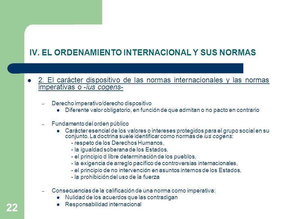 22 IV. EL ORDENAMIENTO INTERNACIONAL Y SUS NORMAS 2. El carácter dispositivo de las normas internacionales y las normas imperativas o -ius cogens- – D