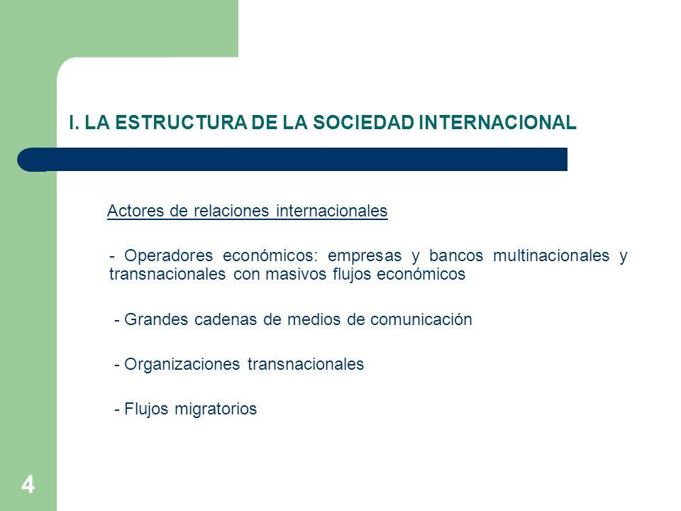 I. LA ESTRUCTURA DE LA SOCIEDAD INTERNACIONAL Actores de relaciones internacionales - Operadores económicos: empresas y bancos multinacionales y trans