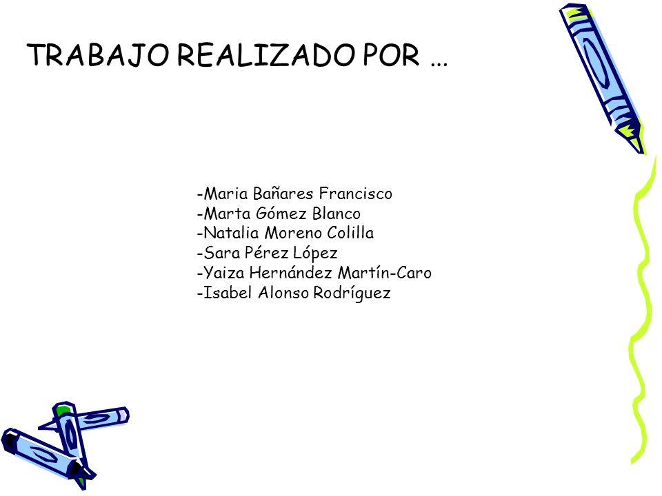 TRABAJO REALIZADO POR … -Maria Bañares Francisco -Marta Gómez Blanco -Natalia Moreno Colilla -Sara Pérez López -Yaiza Hernández Martín-Caro -Isabel Alonso Rodríguez