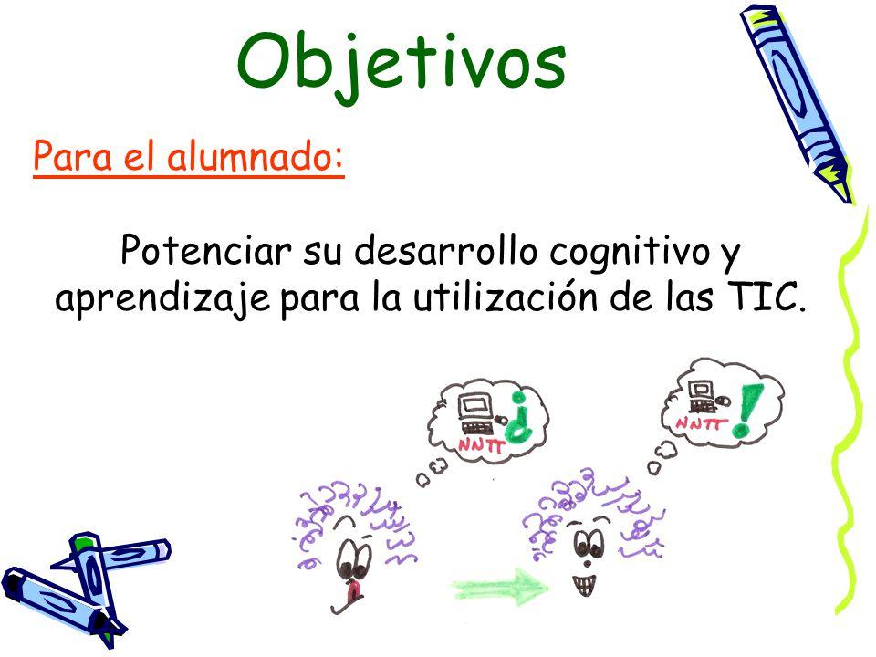 Para el alumnado: Potenciar su desarrollo cognitivo y aprendizaje para la utilización de las TIC.
