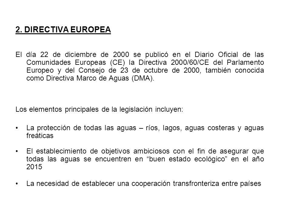 2. DIRECTIVA EUROPEA El día 22 de diciembre de 2000 se publicó en el Diario Oficial de las Comunidades Europeas (CE) la Directiva 2000/60/CE del Parla