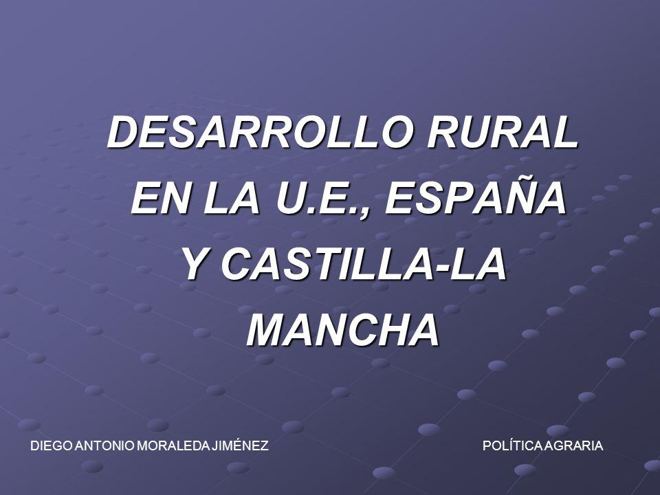 DESARROLLO RURAL EN LA U.E., ESPAÑA Y CASTILLA-LA MANCHA DIEGO ANTONIO MORALEDA JIMÉNEZ POLÍTICA AGRARIA