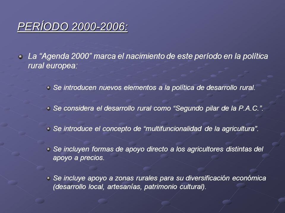 PERÍODO 2000-2006: La Agenda 2000 marca el nacimiento de este período en la política rural europea: Se introducen nuevos elementos a la política de de