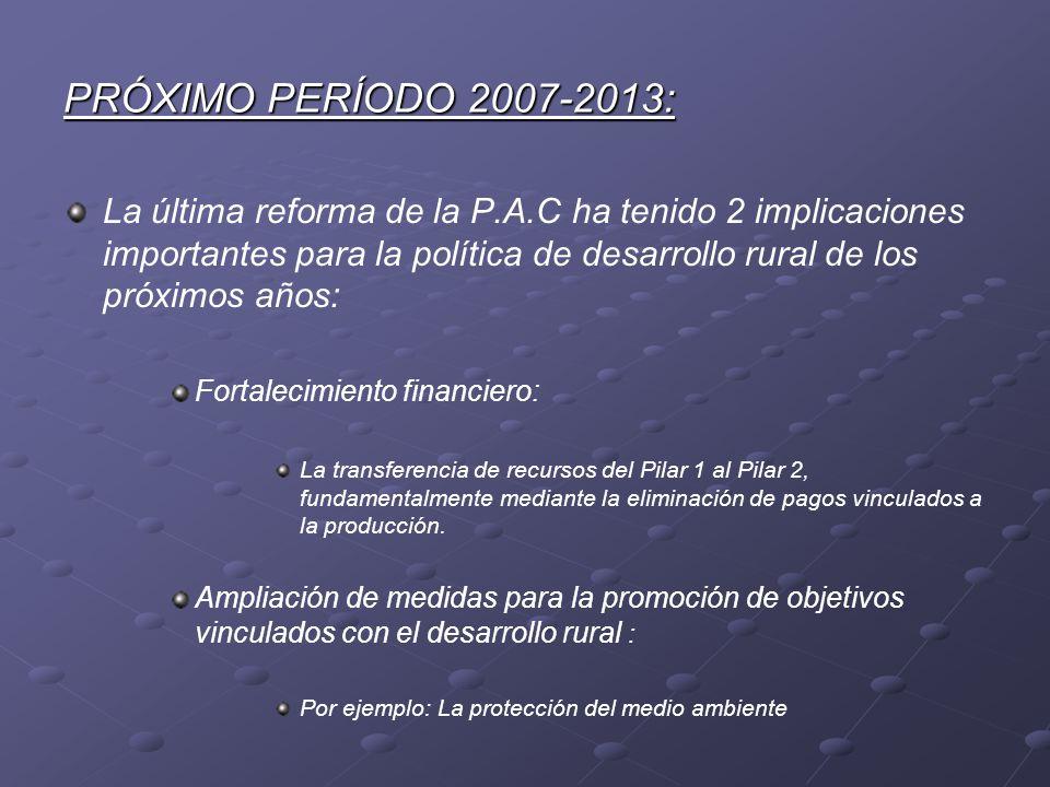 PRÓXIMO PERÍODO 2007-2013: La última reforma de la P.A.C ha tenido 2 implicaciones importantes para la política de desarrollo rural de los próximos añ
