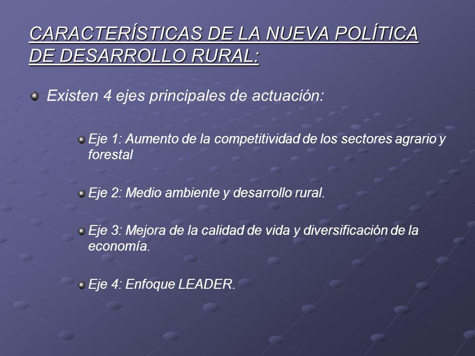CARACTERÍSTICAS DE LA NUEVA POLÍTICA DE DESARROLLO RURAL: Existen 4 ejes principales de actuación: Eje 1: Aumento de la competitividad de los sectores