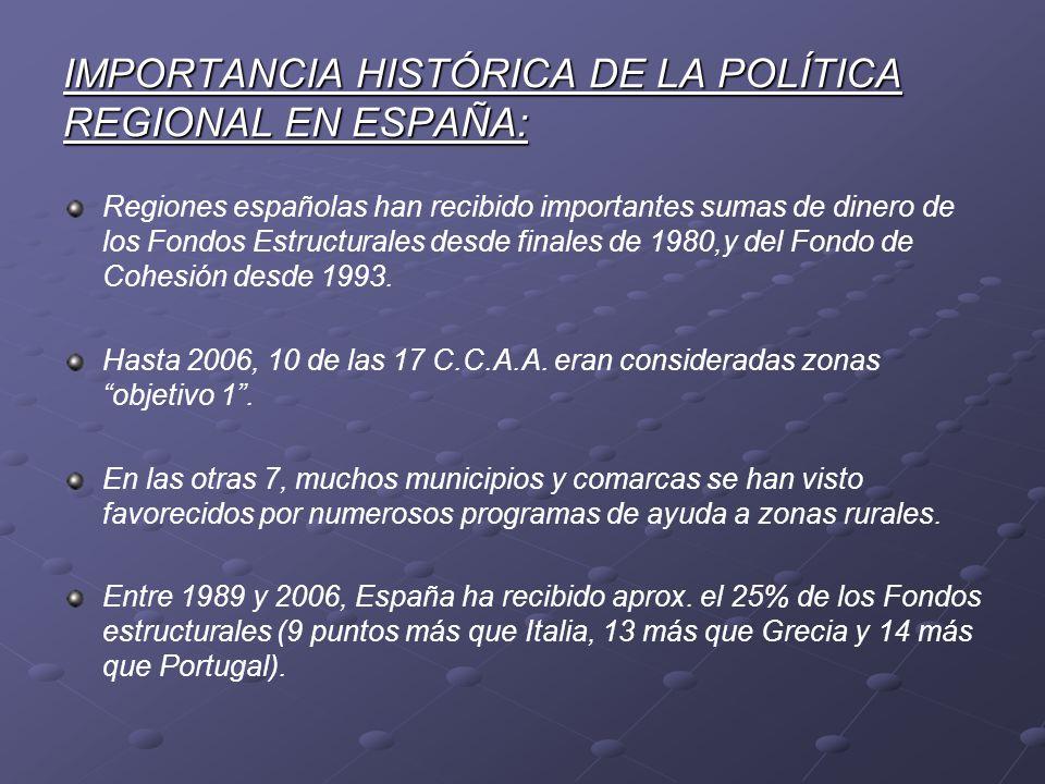 IMPORTANCIA HISTÓRICA DE LA POLÍTICA REGIONAL EN ESPAÑA: Regiones españolas han recibido importantes sumas de dinero de los Fondos Estructurales desde
