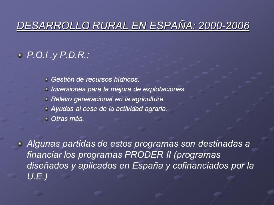 DESARROLLO RURAL EN ESPAÑA: 2000-2006 P.O.I.y P.D.R.: Gestión de recursos hídricos. Inversiones para la mejora de explotaciones. Relevo generacional e