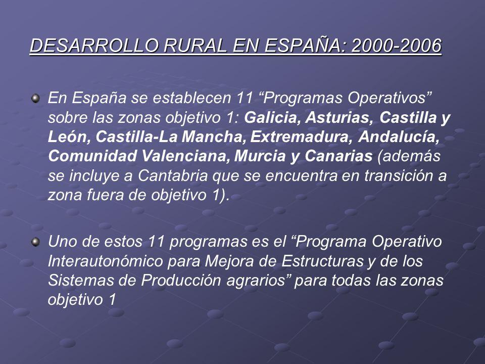 DESARROLLO RURAL EN ESPAÑA: 2000-2006 En España se establecen 11 Programas Operativos sobre las zonas objetivo 1: Galicia, Asturias, Castilla y León,