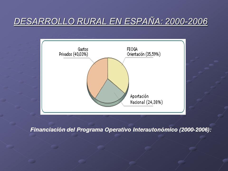 DESARROLLO RURAL EN ESPAÑA: 2000-2006 Financiación del Programa Operativo Interautonómico (2000-2006):