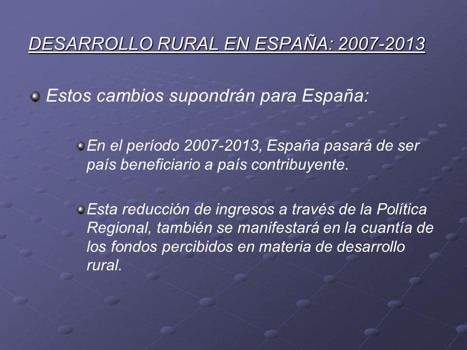 DESARROLLO RURAL EN ESPAÑA: 2007-2013 Estos cambios supondrán para España: En el período 2007-2013, España pasará de ser país beneficiario a país cont