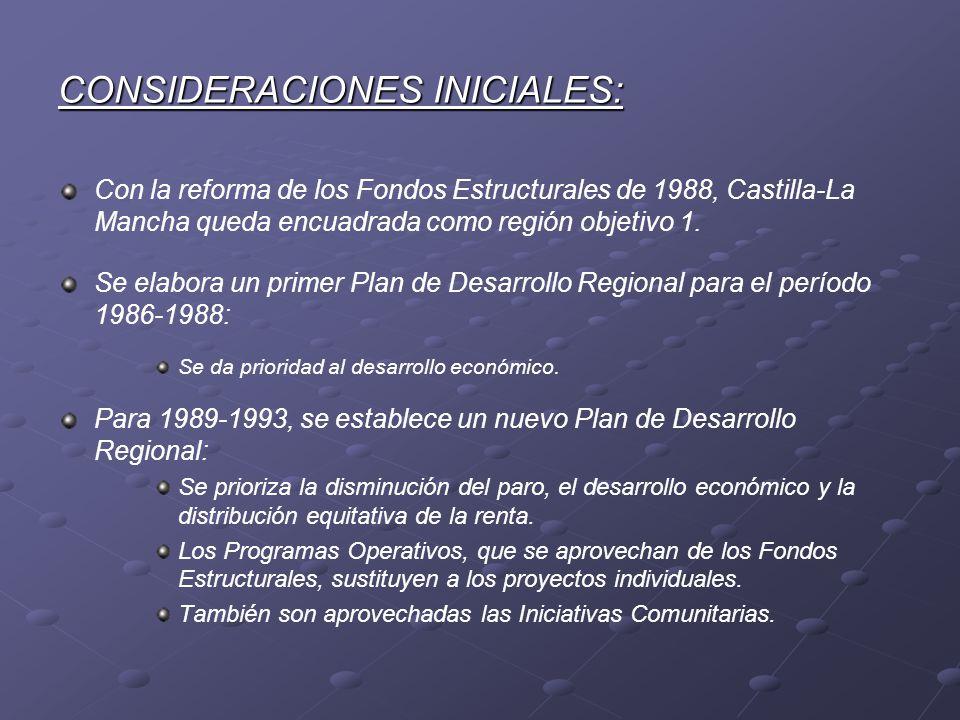 CONSIDERACIONES INICIALES: Con la reforma de los Fondos Estructurales de 1988, Castilla-La Mancha queda encuadrada como región objetivo 1. Se elabora