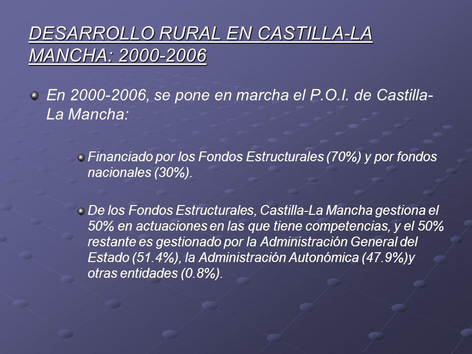 DESARROLLO RURAL EN CASTILLA-LA MANCHA: 2000-2006 En 2000-2006, se pone en marcha el P.O.I. de Castilla- La Mancha: Financiado por los Fondos Estructu