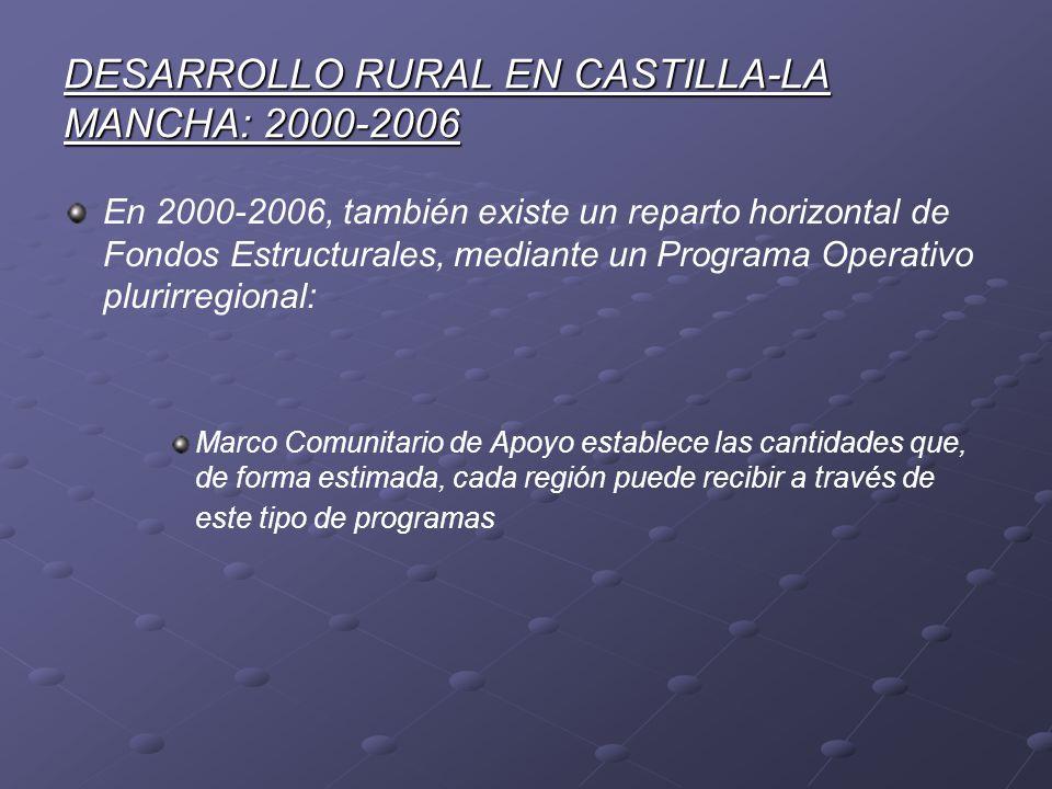 DESARROLLO RURAL EN CASTILLA-LA MANCHA: 2000-2006 En 2000-2006, también existe un reparto horizontal de Fondos Estructurales, mediante un Programa Ope