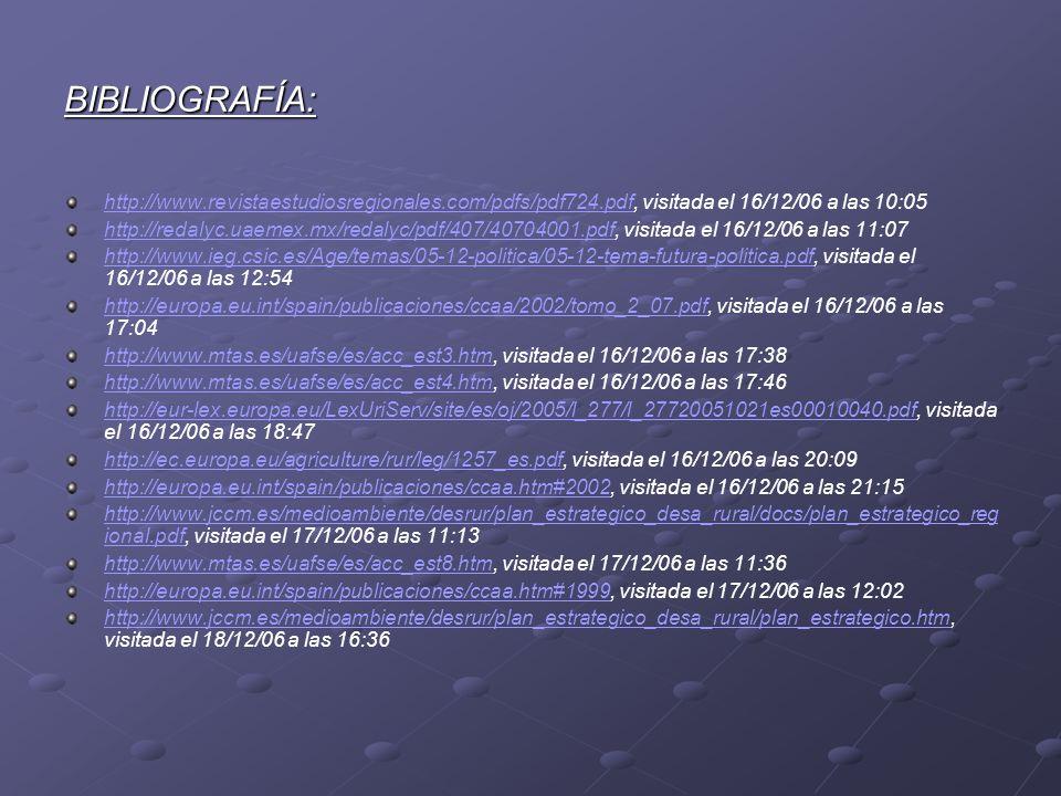 BIBLIOGRAFÍA: http://www.revistaestudiosregionales.com/pdfs/pdf724.pdfhttp://www.revistaestudiosregionales.com/pdfs/pdf724.pdf, visitada el 16/12/06 a