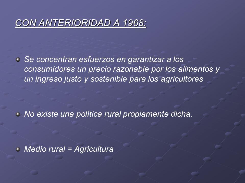 CON ANTERIORIDAD A 1968: Se concentran esfuerzos en garantizar a los consumidores un precio razonable por los alimentos y un ingreso justo y sostenibl