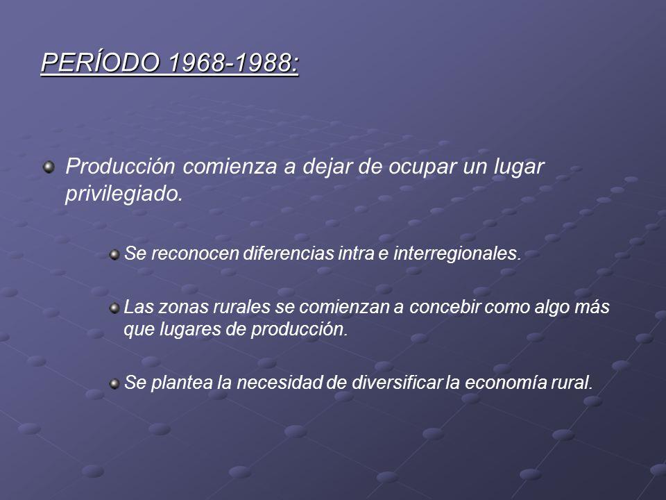PERÍODO 1968-1988: Producción comienza a dejar de ocupar un lugar privilegiado. Se reconocen diferencias intra e interregionales. Las zonas rurales se