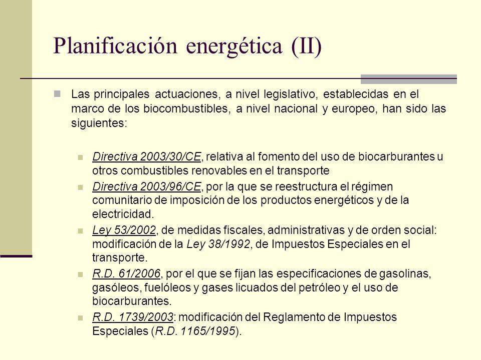 Planificación energética (II) Las principales actuaciones, a nivel legislativo, establecidas en el marco de los biocombustibles, a nivel nacional y eu