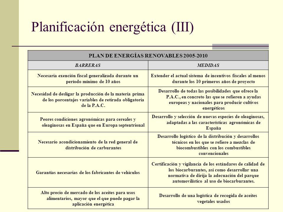 Planificación energética (III) PLAN DE ENERGÍAS RENOVABLES 2005-2010 BARRERASMEDIDAS Necesaria exención fiscal generalizada durante un período mínimo