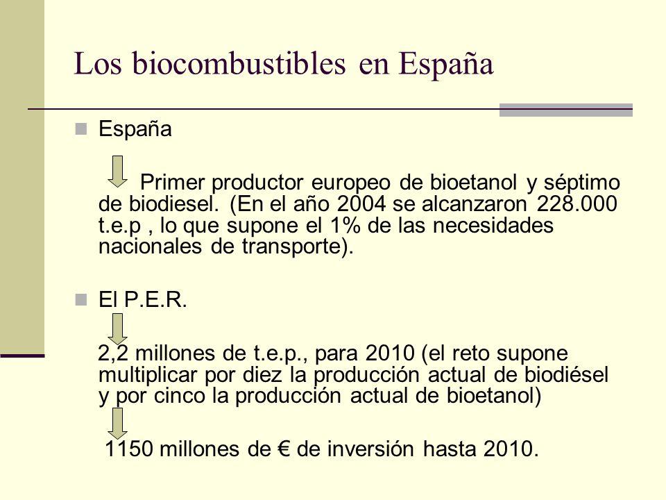 Los biocombustibles en España España Primer productor europeo de bioetanol y séptimo de biodiesel. (En el año 2004 se alcanzaron 228.000 t.e.p, lo que