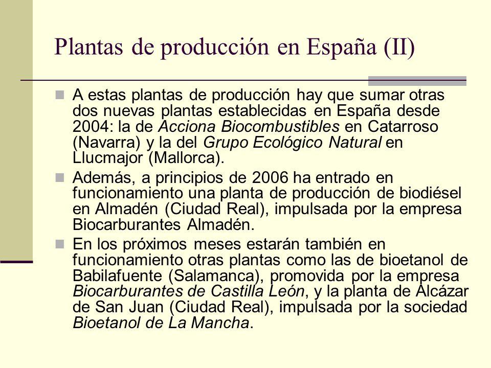Plantas de producción en España (II) A estas plantas de producción hay que sumar otras dos nuevas plantas establecidas en España desde 2004: la de Acc