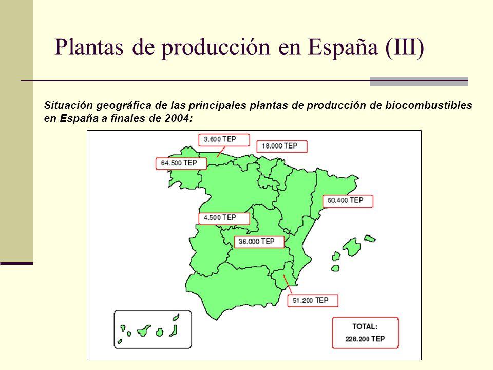 Plantas de producción en España (III) Situación geográfica de las principales plantas de producción de biocombustibles en España a finales de 2004: