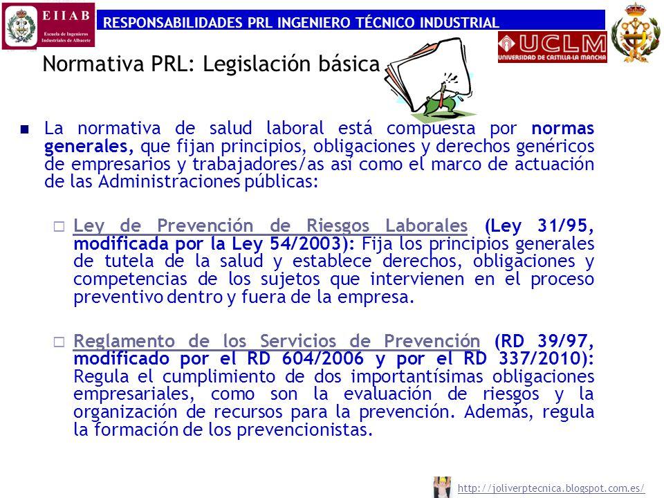 RESPONSABILIDADES PRL INGENIERO TÉCNICO INDUSTRIAL http://joliverptecnica.blogspot.com.es/ Normativa PRL: Legislación básica La normativa de salud lab