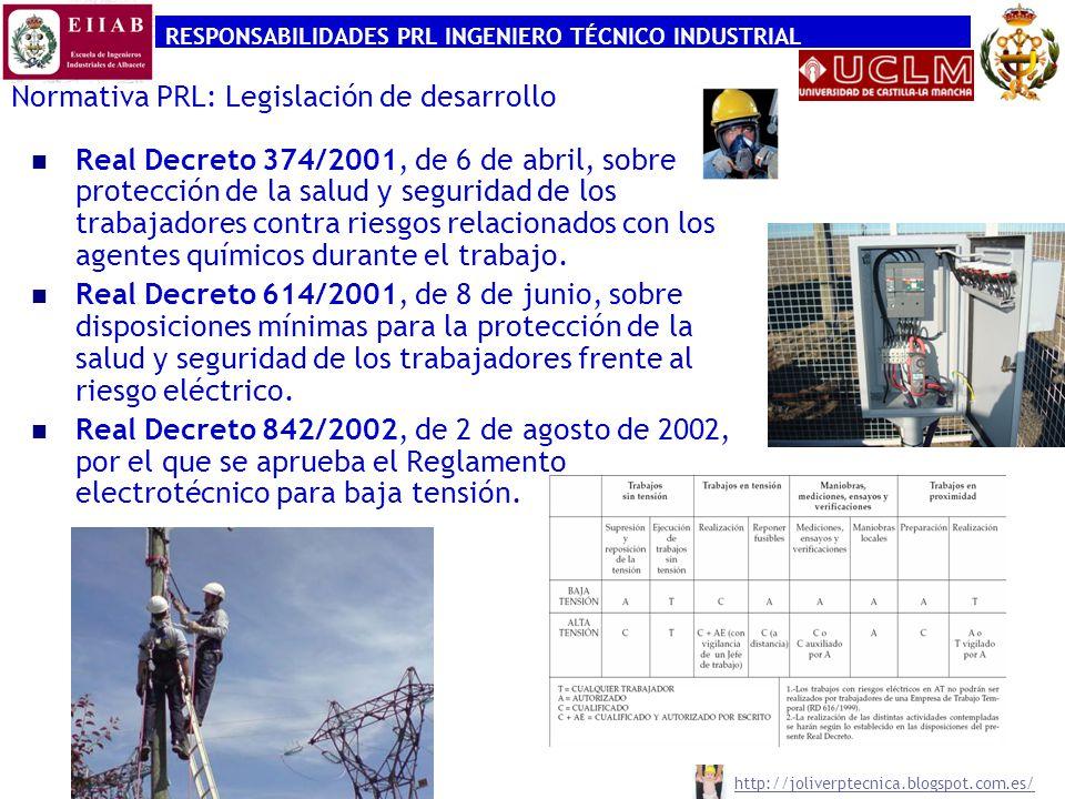 RESPONSABILIDADES PRL INGENIERO TÉCNICO INDUSTRIAL http://joliverptecnica.blogspot.com.es/ Normativa PRL: Legislación de desarrollo Real Decreto 171/2004, de 30 de enero, por el que se desarrolla el artículo 24 de la Ley 31/1995, de 8 de noviembre, de Prevención de Riesgos Laborales, en materia de coordinación de actividades empresariales.