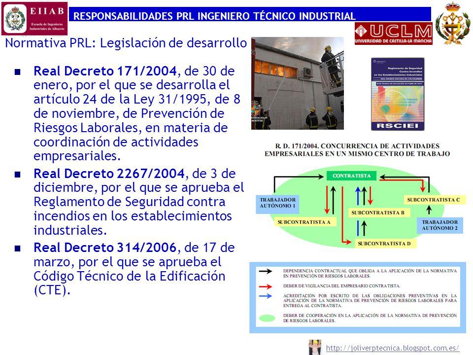 RESPONSABILIDADES PRL INGENIERO TÉCNICO INDUSTRIAL http://joliverptecnica.blogspot.com.es/ Normativa PRL: Legislación de desarrollo Real Decreto 171/2
