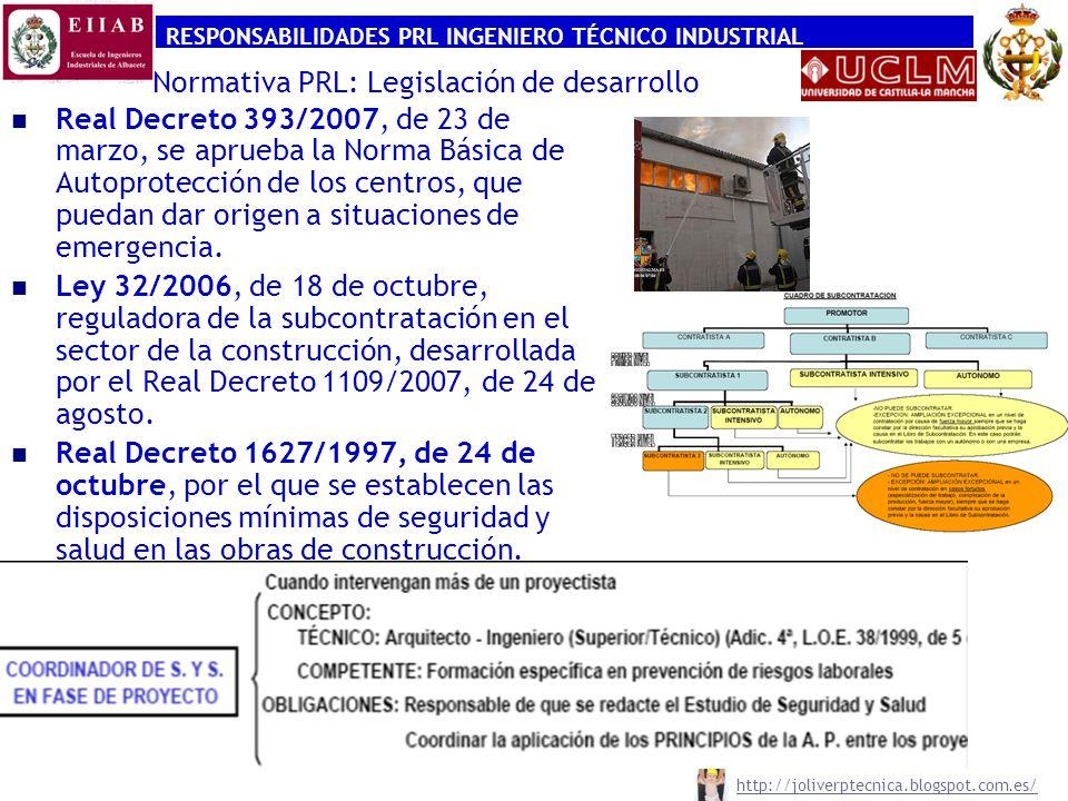 RESPONSABILIDADES PRL INGENIERO TÉCNICO INDUSTRIAL http://joliverptecnica.blogspot.com.es/ Normativa PRL: Legislación de desarrollo Real Decreto 393/2