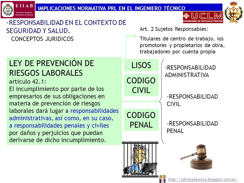 IMPLICACIONES NORMATIVA PRL EN EL INGENIERO TÉCNICO -RESPONSABILIDAD EN EL CONTEXTO DE SEGURIDAD Y SALUD. CONCEPTOS JURIDICOS LEY DE PREVENCIÓN DE RIE