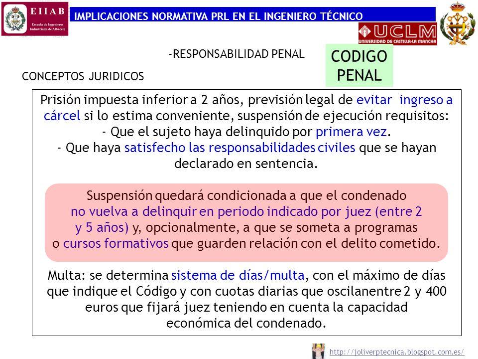 IMPLICACIONES NORMATIVA PRL EN EL INGENIERO TÉCNICO CONCEPTOS JURIDICOS -RESPONSABILIDAD PENAL Sujetos Responsables Art.