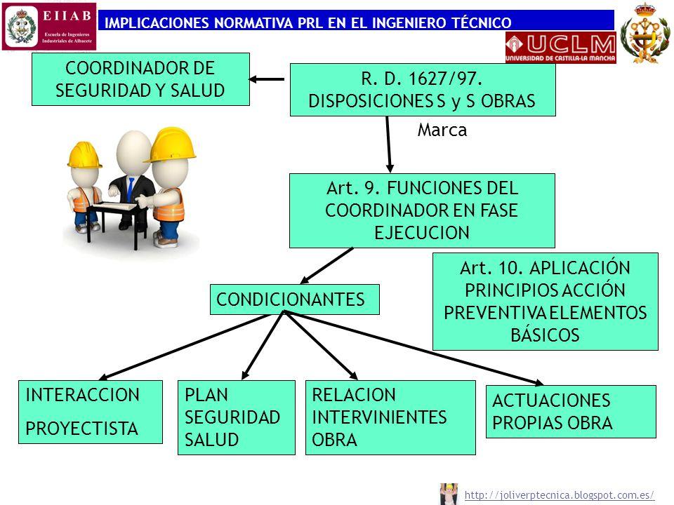 IMPLICACIONES NORMATIVA PRL EN EL INGENIERO TÉCNICO COORDINADOR DE SEGURIDAD Y SALUD R. D. 1627/97. DISPOSICIONES S y S OBRAS Marca Art. 9. FUNCIONES