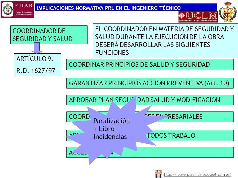 IMPLICACIONES NORMATIVA PRL EN EL INGENIERO TÉCNICO COORDINADOR DE SEGURIDAD Y SALUD ARTÍCULO 9. R.D. 1627/97 COORDINAR PRINCIPIOS DE SALUD Y SEGURIDA