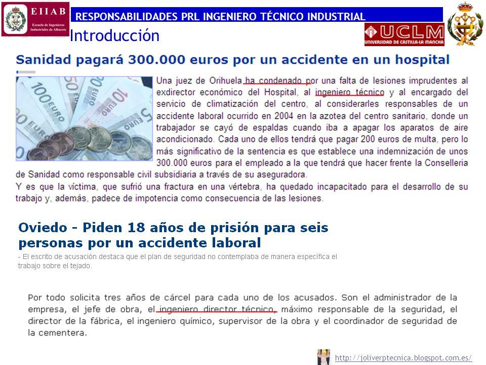 RESPONSABILIDADES PRL INGENIERO TÉCNICO INDUSTRIAL http://joliverptecnica.blogspot.com.es/ Introducción
