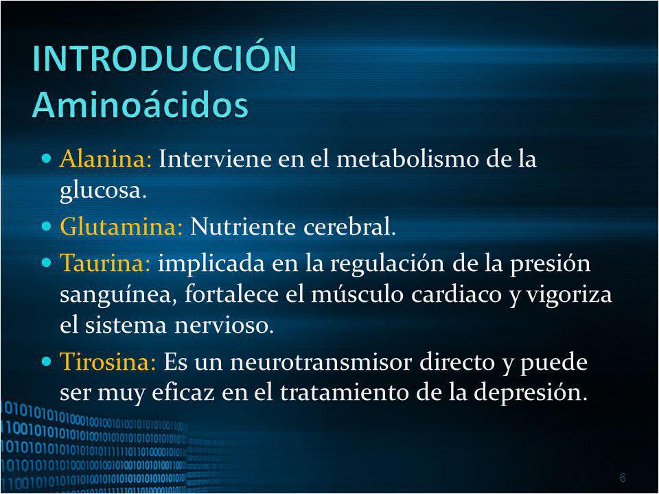 6 Alanina: Interviene en el metabolismo de la glucosa. Glutamina: Nutriente cerebral. Taurina: implicada en la regulación de la presión sanguínea, for