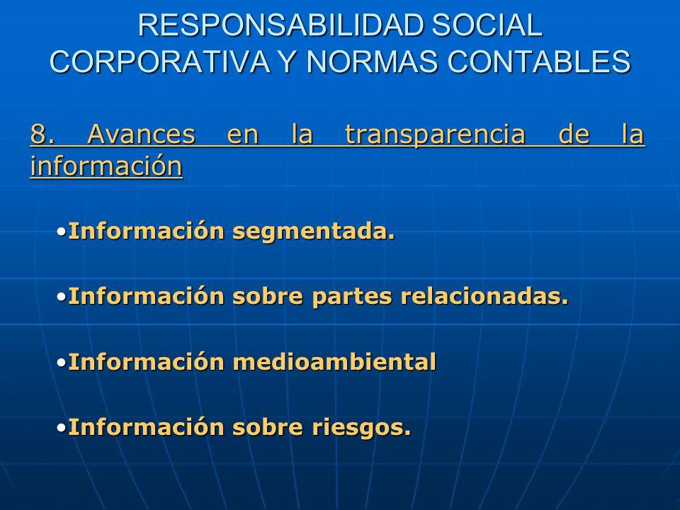RESPONSABILIDAD SOCIAL CORPORATIVA Y NORMAS CONTABLES Información segmentada.Información segmentada.