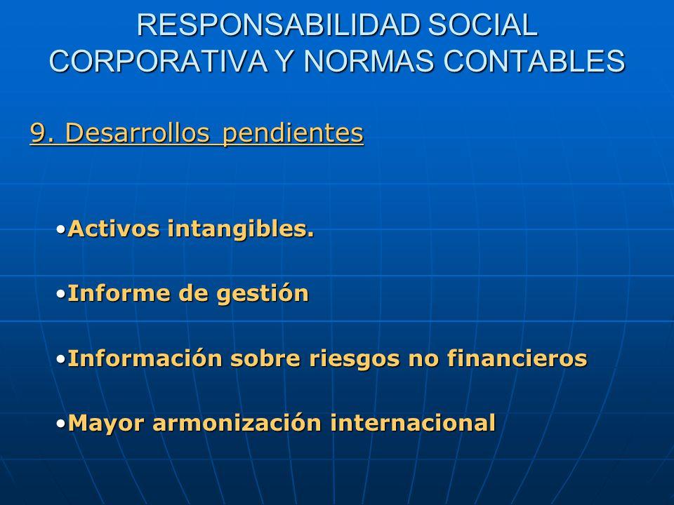 RESPONSABILIDAD SOCIAL CORPORATIVA Y NORMAS CONTABLES Activos intangibles.Activos intangibles.