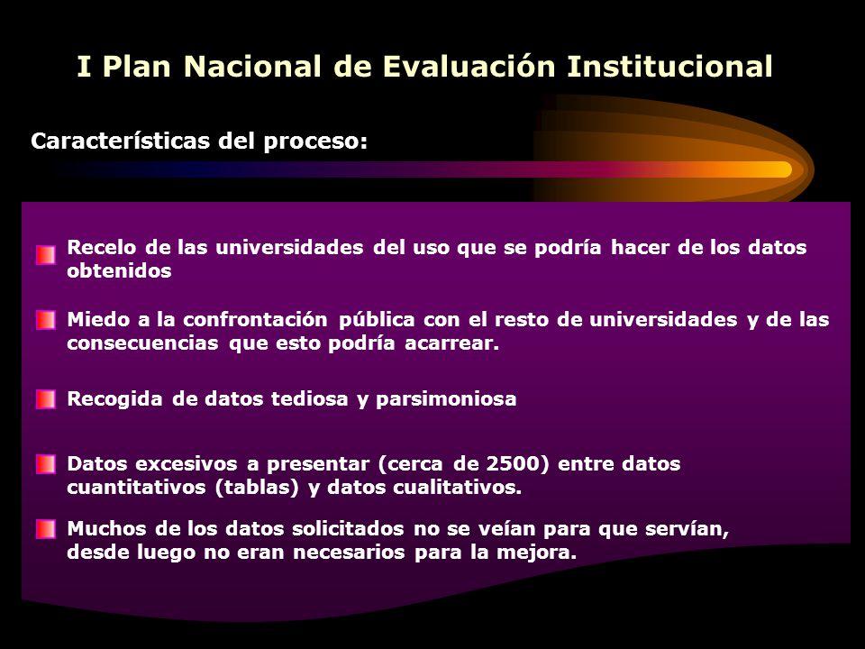 I Plan Nacional de Evaluación Institucional Características del proceso: Recelo de las universidades del uso que se podría hacer de los datos obtenido