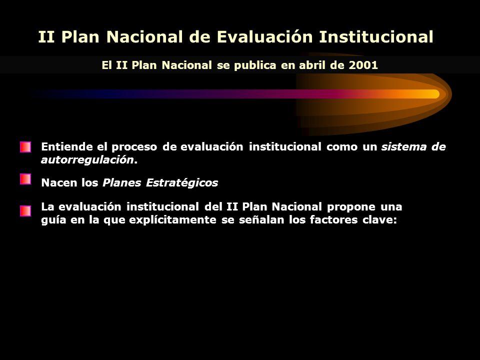 II Plan Nacional de Evaluación Institucional El II Plan Nacional se publica en abril de 2001 Entiende el proceso de evaluación institucional como un sistema de autorregulación.