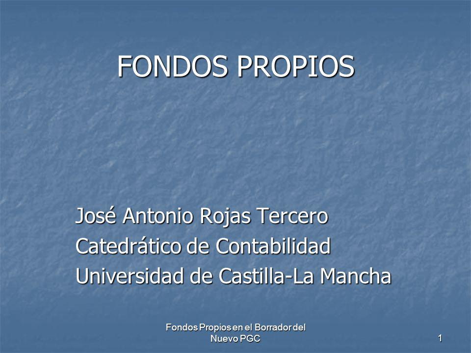 Fondos Propios en el Borrador del Nuevo PGC 1 FONDOS PROPIOS José Antonio Rojas Tercero Catedrático de Contabilidad Universidad de Castilla-La Mancha