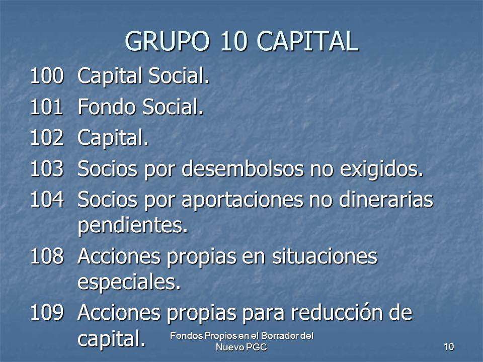 Fondos Propios en el Borrador del Nuevo PGC10 GRUPO 10 CAPITAL 100Capital Social. 101Fondo Social. 102Capital. 103Socios por desembolsos no exigidos.