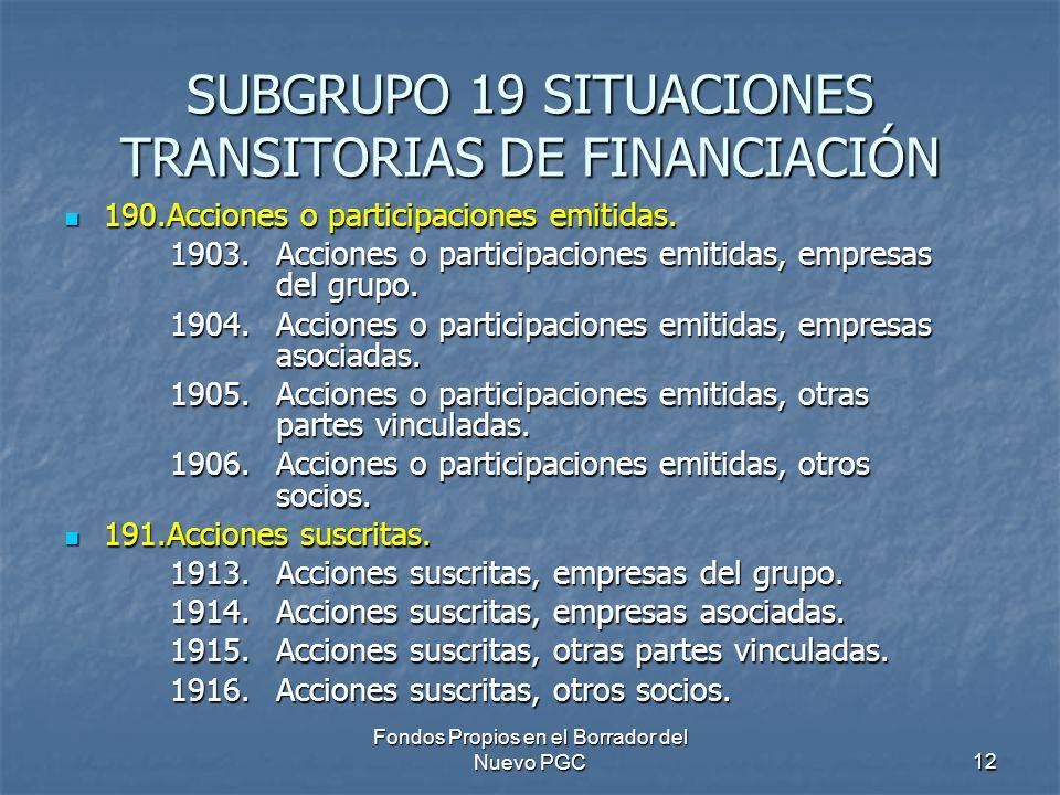 Fondos Propios en el Borrador del Nuevo PGC12 SUBGRUPO 19 SITUACIONES TRANSITORIAS DE FINANCIACIÓN 190.Acciones o participaciones emitidas. 190.Accion