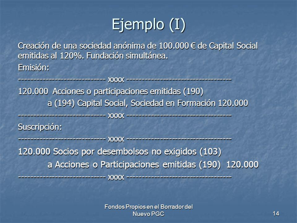 Fondos Propios en el Borrador del Nuevo PGC14 Ejemplo (I) Creación de una sociedad anónima de 100.000 de Capital Social emitidas al 120%. Fundación si